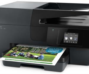 Front side view with paper, Officejet Pro 6830