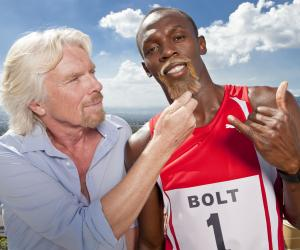 Virgin Media broadband advert with Richard Branson and Usain Bolt