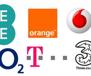 EE, O2, Orange, T-Mobile, Three, Vodafone logos
